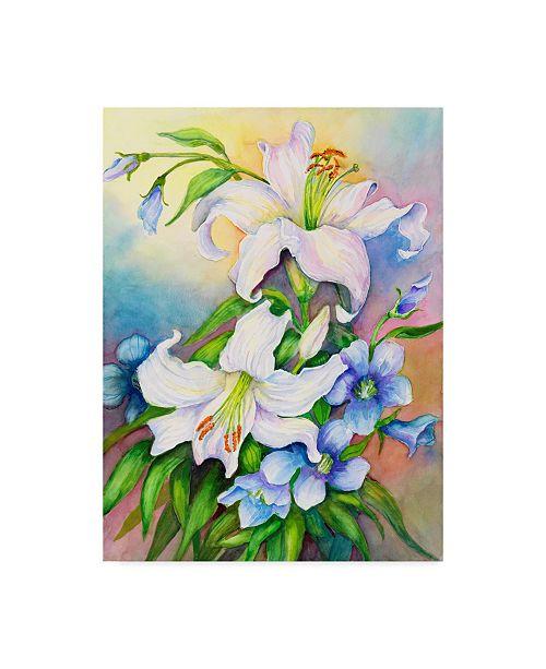 "Trademark Global Joanne Porter 'Lilies And Prairie Gentian' Canvas Art - 24"" x 32"""