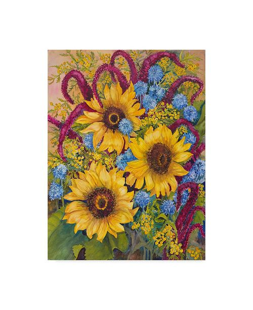 "Trademark Global Joanne Porter 'Sunflowers And Thistles' Canvas Art - 24"" x 32"""