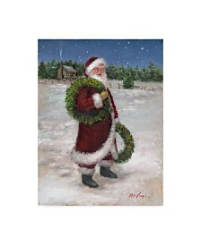 "Mary Miller Veazie 'Santa With Two Wreaths' Canvas Art - 35"" x 47"""