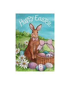 "Melinda Hipsher 'Happy Easter Bunny With Basket' Canvas Art - 30"" x 47"""