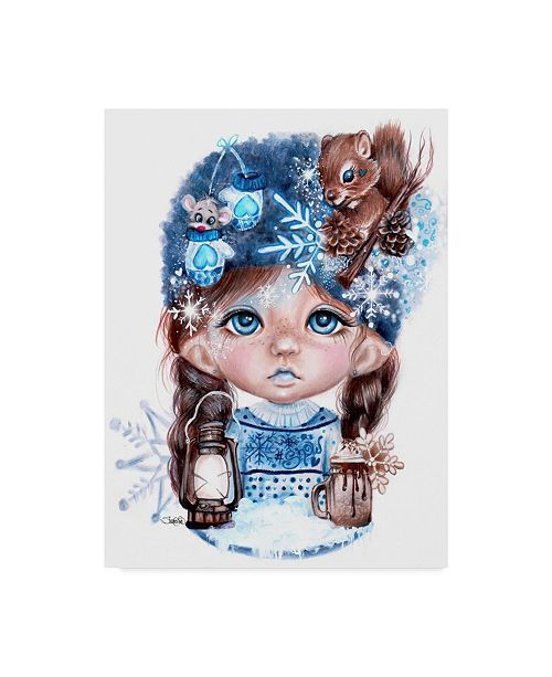 "Trademark Global Sheena Pike Art And Illustration 'Snowy Seraphina Winter' Canvas Art - 24"" x 32"""