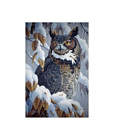 "Wilhelm Goebel 'Winter Watch Great Horned Owl' Canvas Art - 22"" x 32"""
