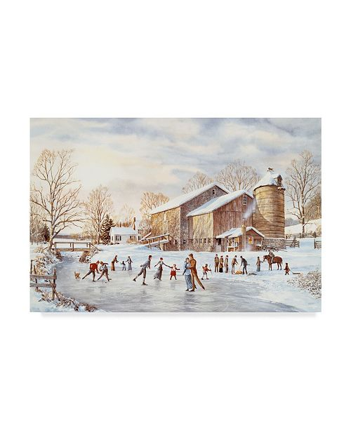 """Trademark Global Jack Wemp 'The Skating Party' Canvas Art - 47"""" x 30"""""""