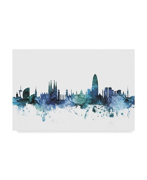 "Trademark Global Michael Tompsett 'Barcelona Spain Blue Teal Skyline' Canvas Art - 47"" x 30"""