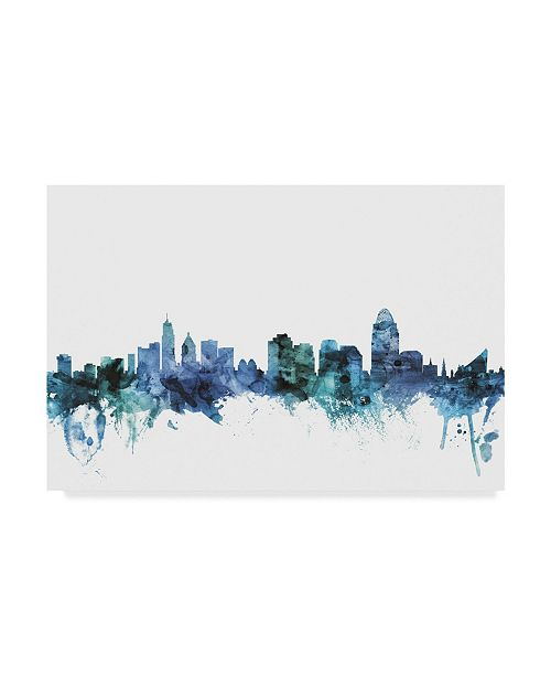 "Trademark Global Michael Tompsett 'Cincinnati Ohio Blue Teal Skyline' Canvas Art - 32"" x 22"""
