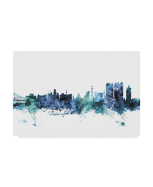 "Trademark Global Michael Tompsett 'Calcutta India Blue Teal Skyline' Canvas Art - 47"" x 30"""