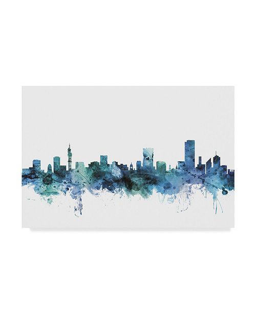 "Trademark Global Michael Tompsett 'Pretoria South Africa Blue Teal Skyline' Canvas Art - 24"" x 16"""
