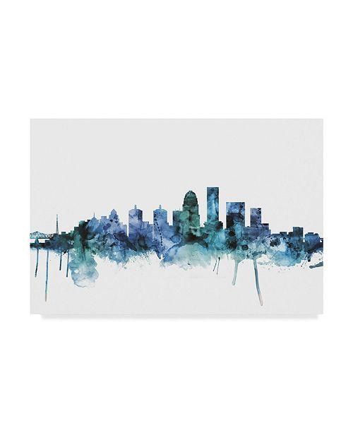 """Trademark Global Michael Tompsett 'Louisville Kentucky Blue Teal Skyline' Canvas Art - 24"""" x 16"""""""
