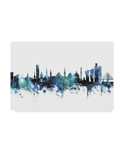 "Trademark Global Michael Tompsett 'Copenhagen Denmark Blue Teal Skyline' Canvas Art - 47"" x 30"""