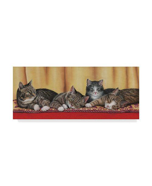 """Trademark Global Janet Pidoux 'Relaxing Tabbies' Canvas Art - 32"""" x 14"""""""