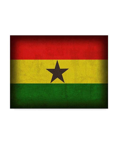 "Trademark Global Red Atlas Designs 'Ghana Distressed Flag' Canvas Art - 24"" x 18"""