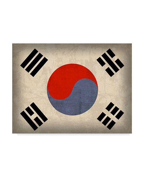 "Trademark Global Red Atlas Designs 'South Korea Distressed Flag' Canvas Art - 47"" x 35"""