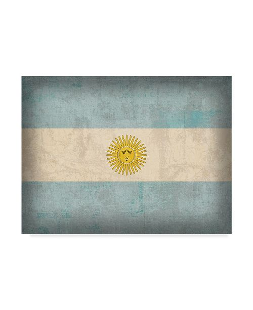 "Trademark Global Red Atlas Designs 'Argentina Distressed Flag' Canvas Art - 24"" x 18"""