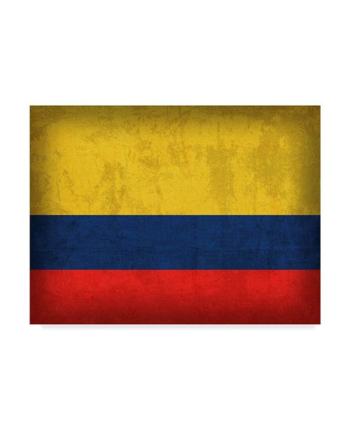 "Trademark Global Red Atlas Designs 'Colombia Distressed Flag' Canvas Art - 47"" x 35"""
