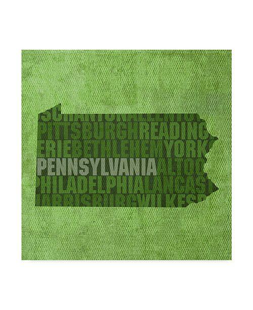 "Trademark Global Red Atlas Designs 'Pennsylvania State Words' Canvas Art - 35"" x 35"""