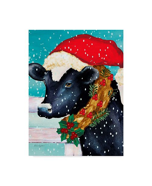 "Trademark Global Laurie Korsgaden 'Cow With Santa Hat' Canvas Art - 35"" x 47"""