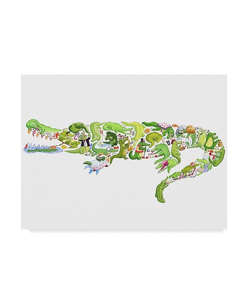 "Trademark Global Louise Tate 'Crocodile Collage' Canvas Art - 32"" x 24"""