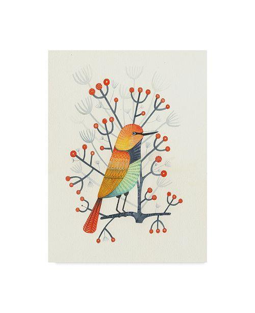 "Trademark Global Michelle Campbell 'Orange Bird Design' Canvas Art - 24"" x 32"""