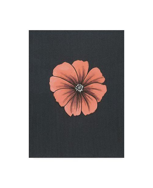 "Trademark Global Nicky Kumar 'Peach Flower On Gray' Canvas Art - 35"" x 47"""