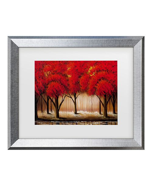 "Trademark Global Masters Fine Art 'Parade Of Red Trees Ii' Matted Framed Art - 20"" x 16"""