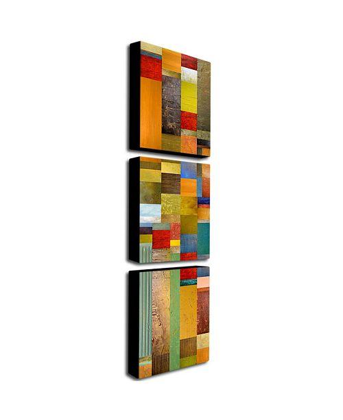 """Trademark Global Michelle Calkins 'Color Panels Olive Stripes' Canvas Art Set - 32"""" x 24"""""""