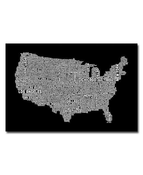 "Trademark Global Michael Tompsett 'US City Map B&W' Canvas Art - 47"" x 30"""