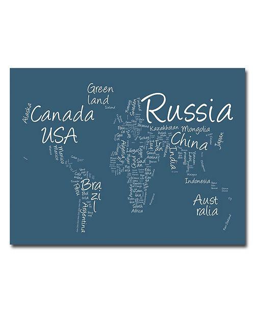 """Trademark Global Michael Tompsett 'Writing World Map' Canvas Art - 24"""" x 18"""""""