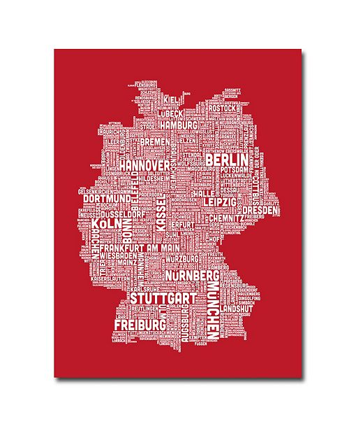 "Trademark Global Michael Tompsett 'Germany City Map I' Canvas Art - 47"" x 35"""