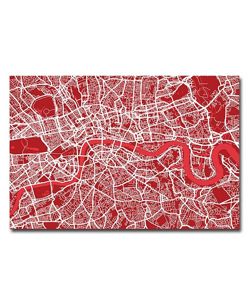 "Trademark Global Michael Tompsett 'London Street Map IV' Canvas Art - 32"" x 22"""
