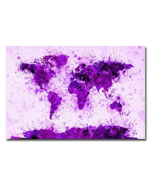 "Trademark Global Michael Tompsett 'World Map - Purple Paint Splashes' Canvas Art - 32"" x 22"""