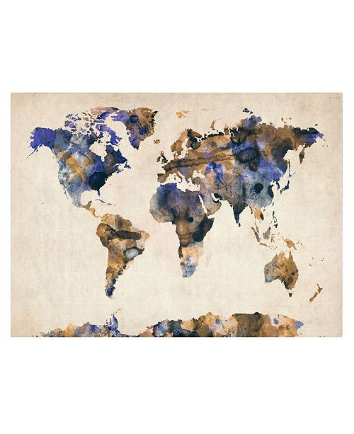 "Trademark Global Michael Tompsett 'Watercolor Map 3' Canvas Art - 47"" x 30"""