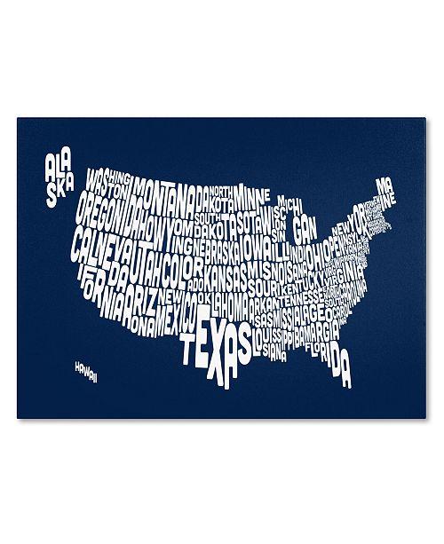 "Trademark Global Michael Tompsett 'NAVY-USA States Text Map' Canvas Art - 47"" x 30"""