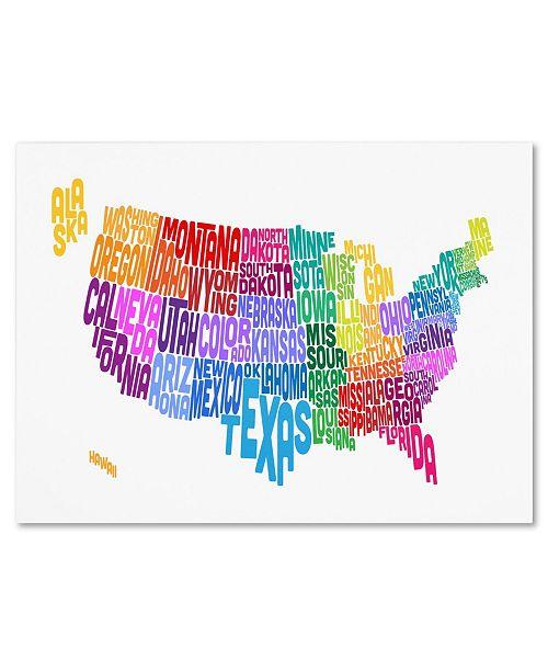 "Trademark Global Michael Tompsett 'USA States Txt Map 3' Canvas Art - 47"" x 30"""