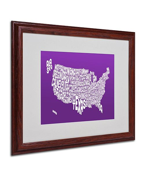 "Trademark Global Michael Tompsett 'PURPLE-USA States Text Map' Matted Framed Art - 20"" x 16"""