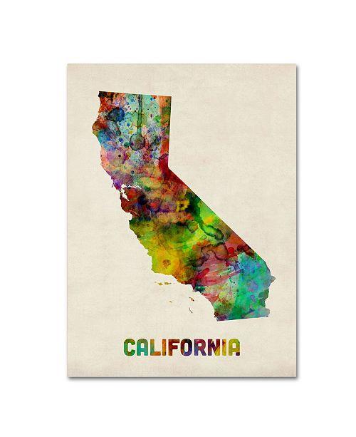"Trademark Global Michael Tompsett 'California Map' Canvas Art - 47"" x 35"""
