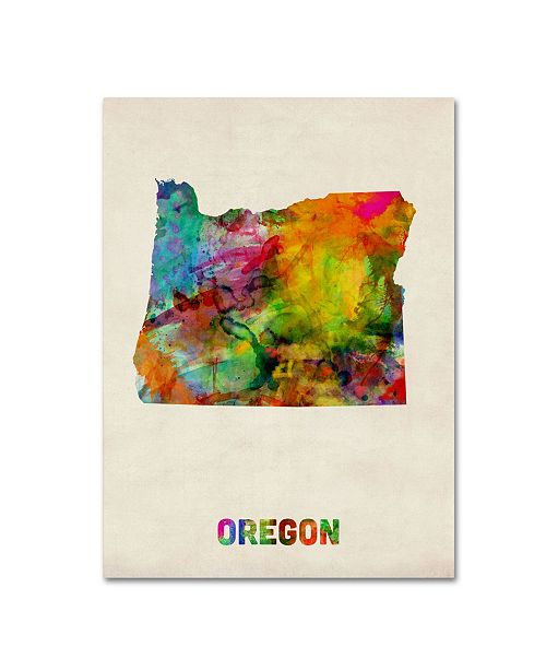 "Trademark Global Michael Tompsett 'Oregon Map' Canvas Art - 24"" x 18"""