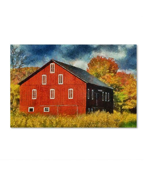 "Trademark Global Lois Bryan 'Red Barn In Autumn' Canvas Art - 24"" x 16"""