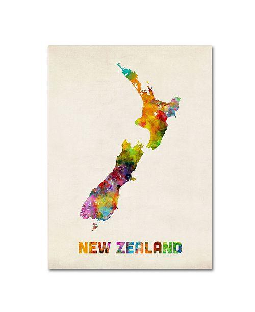 "Trademark Global Michael Tompsett 'New Zealand Watercolor Map' Canvas Art - 32"" x 24"""