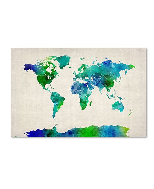 "Trademark Global Michael Tompsett 'World Map Watercolor' Canvas Art - 32"" x 22"""