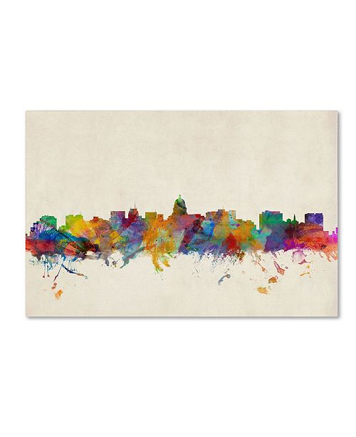 "Trademark Global Michael Tompsett 'Madison Watercolor Skyline' Canvas Art - 24"" x 16"""