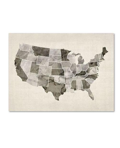"Trademark Global Michael Tompsett 'United States Watercolor Map' Canvas Art - 47"" x 35"""