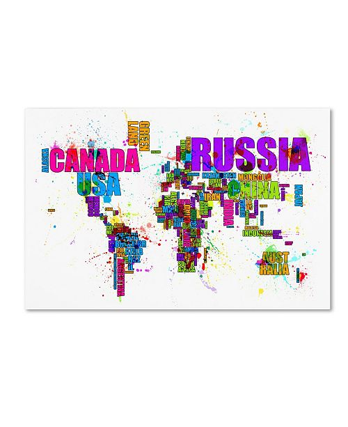 "Trademark Global Michael Tompsett 'Text Map of the World' Canvas Art - 32"" x 22"""
