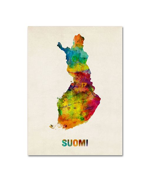 "Trademark Global Michael Tompsett 'Finland Watercolor Map (Suomi)' Canvas Art - 32"" x 24"""