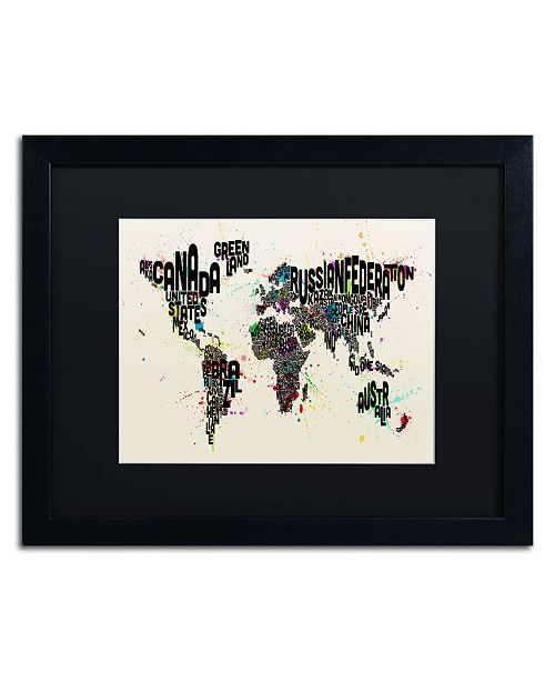 "Trademark Global Michael Tompsett 'Paint Splashes Text Map of the World II' Matted Framed Art - 20"" x 16"""
