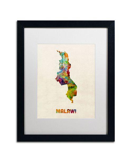 "Trademark Global Michael Tompsett 'Malawi Watercolor Map' Matted Framed Art - 20"" x 16"""
