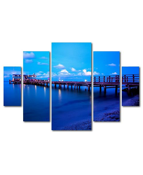 "Trademark Global Preston 'Florida Pier' Multi Panel Art Set - 40"" x 58"""