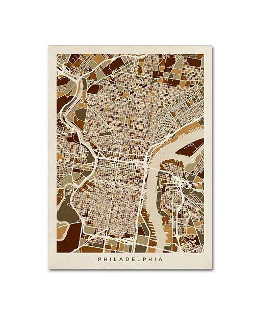 "Trademark Global Michael Tompsett 'Philadelphia Pennsylvania Street Map II' Canvas Art - 35"" x 47"""
