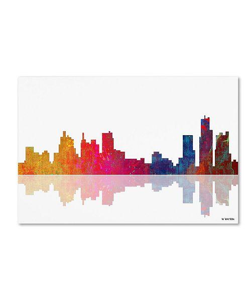 "Trademark Global Marlene Watson 'Boston Massachusetts Skyline II' Canvas Art - 30"" x 47"""
