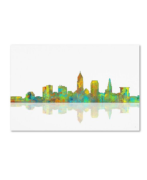 "Trademark Global Marlene Watson 'Cleveland Ohio Skyline' Canvas Art - 22"" x 32"""
