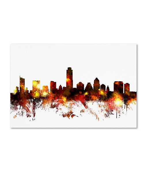"Trademark Global Michael Tompsett 'Austin Texas Skyline III' Canvas Art - 30"" x 47"""